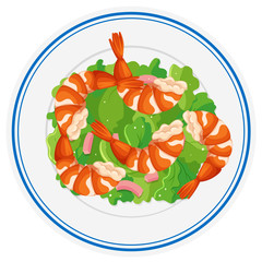 Shrimp salad on round plate