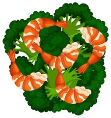 Boiled brocolli and shrimps