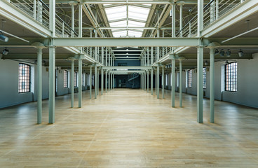 Spacious post industrial factory interior