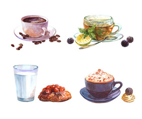 Watercolor set of drinks with coffee cup and cake, green tea cup, milk glass with cake  isolated on a white background illustration.