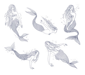 Mermaid in various postures hand drawn contour illustration set. Collection naiad.