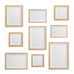 Realistic Photo Frame Vector Set. Collection Of Empty Blank. Realistic Picture Frame On The White Wall. Design Template For Mock Up.