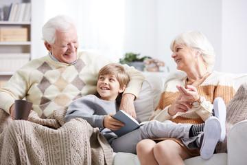 Boy, grandfather and grandmother