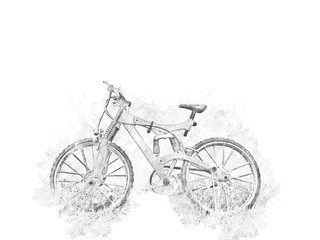 Abstract bicycle isolated on watercolor background.