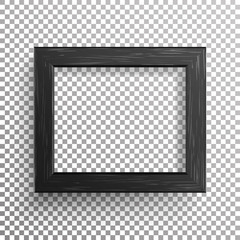 Realistic Photo Frame Vector. Isolated On Transparent Background.
