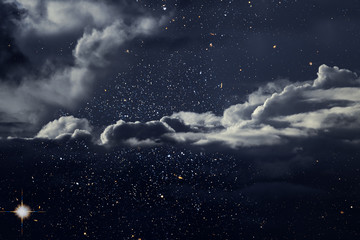 Starry night with clouds