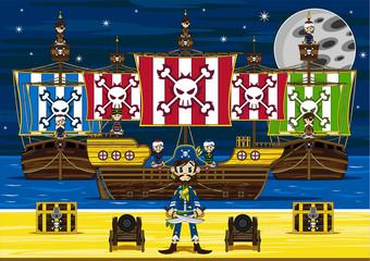 Cute Cartoon Pirates and Pirate Ship