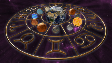 Mystic golden zodiac horoscope symbol with twelve planets in cosmic scene. 3D rendering