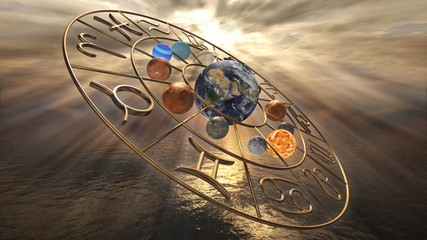 Mystic golden zodiac horoscope symbol with twelve planets. 3D rendering