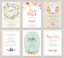 Cute Happy Easter templates with eggs, flowers, floral wreath, rabbit and typographic design.