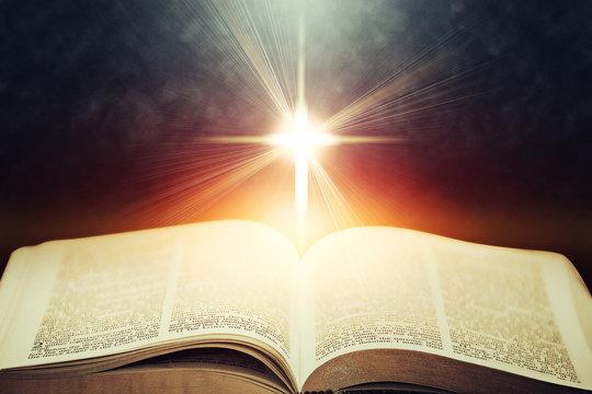 Light flares illuminating the Holy Bible