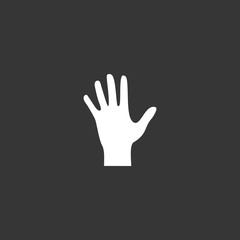 Human hand palm paw icon isolated on dark gray background. Vector Illustration