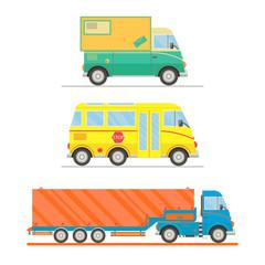 Cartoon transport set. Postal truck, school bus, semi-trailer truck. vector illustration