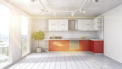 Kitchen interior. 3d illustration