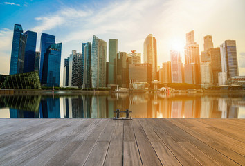 Singapore city skyline of business district downtown at sunset. Wall mural