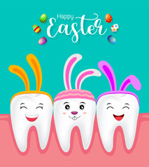 Cute tooth characters with rabbit ears decoration. Happy Easter concept. illustration isolated on green background.