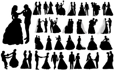 vector, isolated large set of silhouettes of wedding, the bride and groom