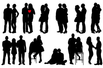 isolated silhouette of a boy and a girl, date, collection