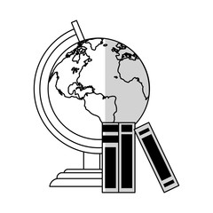 earth planet and books icon over white background. vector illustration