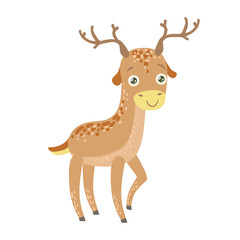 Spotted Reindeer Cute Toy Animal With Detailed Elements Part Of Fauna Collection Of Childish Vector Stickers