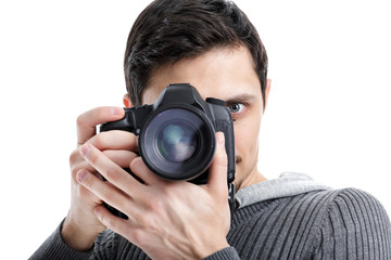 successful professional photographer use DSLR digital camera iso