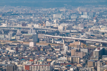 Panoramic view of Kyoto City from viewpoint in Mount Inari, Fushimi Inari Shrine