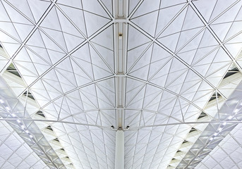 Abstract Architectural background. Architectural forms.Ceiling at airport - modern architecture