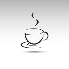 Coffee cup vector logo. Cup icon line illustration.