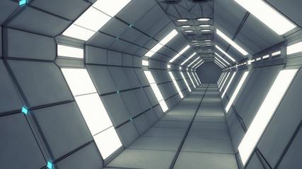 Futurystyczny korytarz 3D z globalnym oświetleniem