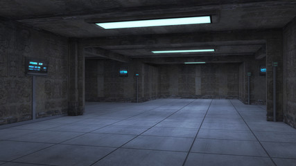 Futuristic warehouse. Space ship futuristic interior. Sci fi view. 3d rendering.