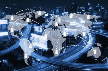 world map with social media connection icon on night city background, network connection and technology concept, color tone effect.