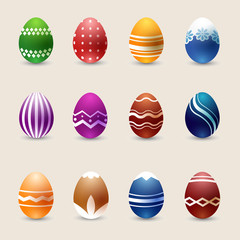 Wall Mural - Realistic color Easter eggs vector set