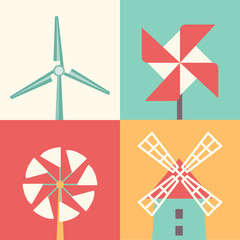 Wall Mural - Windmill linear flat icons. Wind energy cartoon vector illustration
