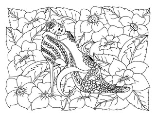 Vector illustration pussy sleeping in a woman's shoe among the flowers. The work is done manually. Coloring books antistress for adults and children. Black and white.