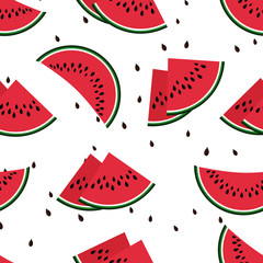 Red watermelon slices seamless vector pattern