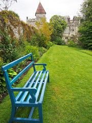 Bright Blue Bench in Gardens of Lismore Castle