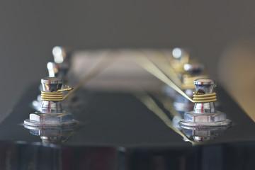 Closeup image of line up guitar tuner posts.