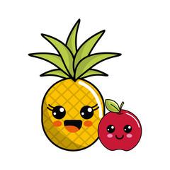 kawaii happy pineapple and apple icon