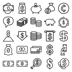 Set of 25 cash outline icons