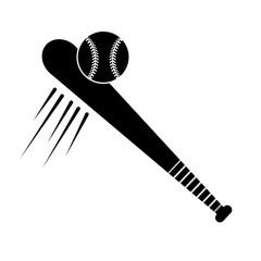 contour baseball with bat and ball icon