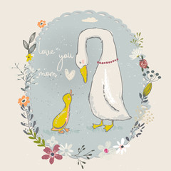 cartoon goose and gosling