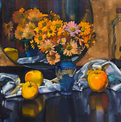 Oil painting still life with   bouquet of flowers in vase around the fabric, apples and mirror reflection of flowers  On  Canvas with  texture