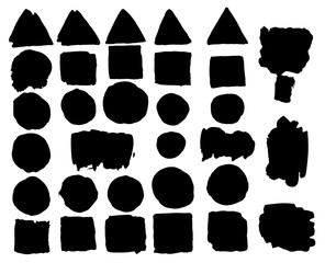 Set of watercolor spots in black. Ink banners, suitable for stickers, labels, badges, advertising, logo, frames with text and boxes. Dirty Textures painted with hands, brush strokes. Isolated.