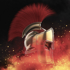 high quality spartan helmet, Greek roman warrior Gladiator, legionnaire heroic soldier, sprts fan render isolated