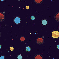 Seamless Space Pattern with DIfferent Variations of Planets and Stars. Figure for Textiles. Decorative Elements for Postcard Design.