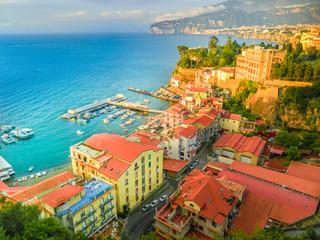 Wall Mural - Aerial view of  Sorrento city, amalfi coast, Italy