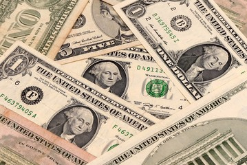 Closeup of American dollar bank notes mixed