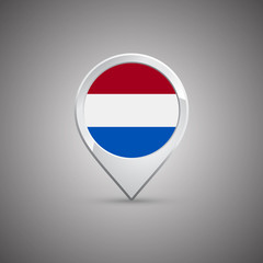 round location pin with flag of netherlands