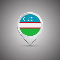round location pin with flag of uzbekistan
