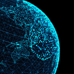 The concept network and data exchange over planet earth/Connection lines Around Earth Globe, Futuristic Technology Theme Background with Light Effect.